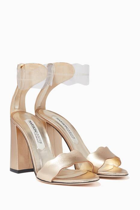Metallic Gold Piwi Plexi Sandals