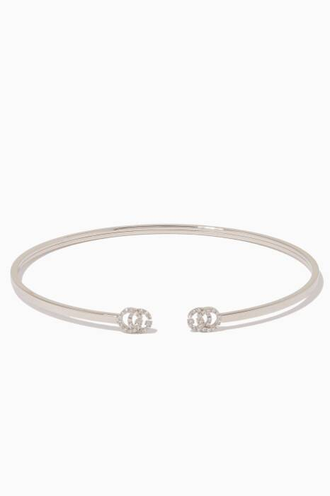 White-Gold & Diamond Extra-Small Double G Cuff