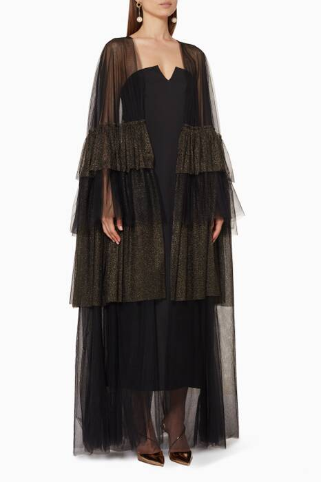Metallic Black Tulle Layered Abaya