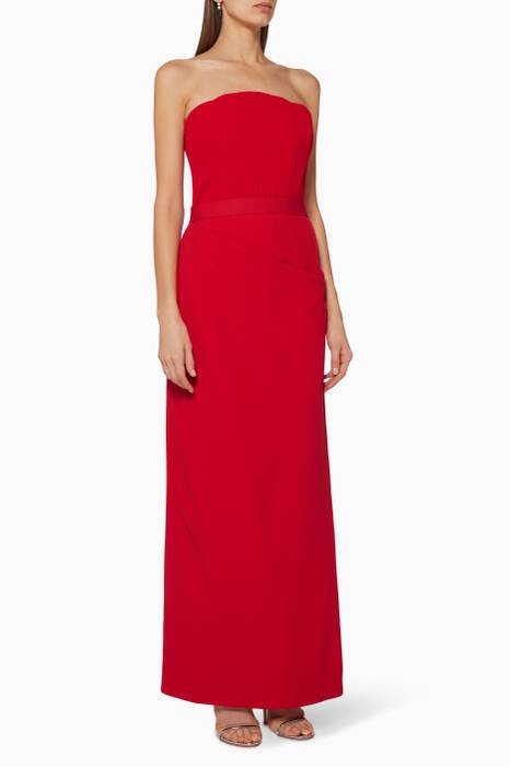 Red Ribbed-Bodice Draped Gown
