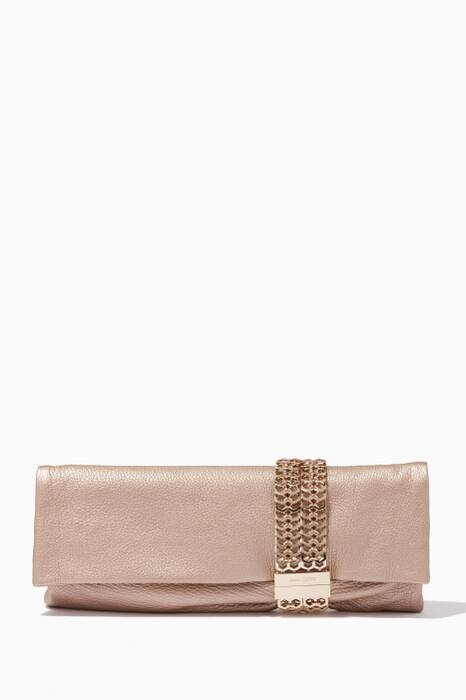 Pink Pearlised Chandra Leather Clutch
