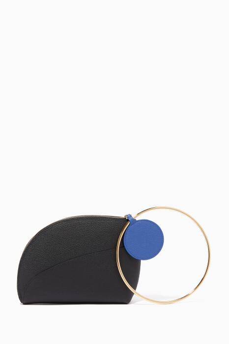 Black Eartha Ring-Handle Leather Clutch