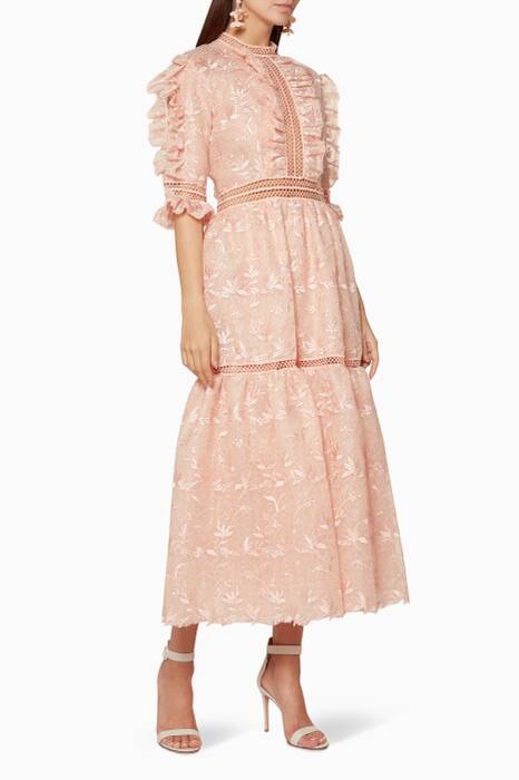 Light-Pink Ruffle-Trimmed Lace Dress