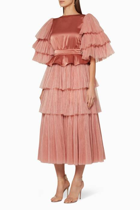 Dust-Pink Ruffled Peplum Dress