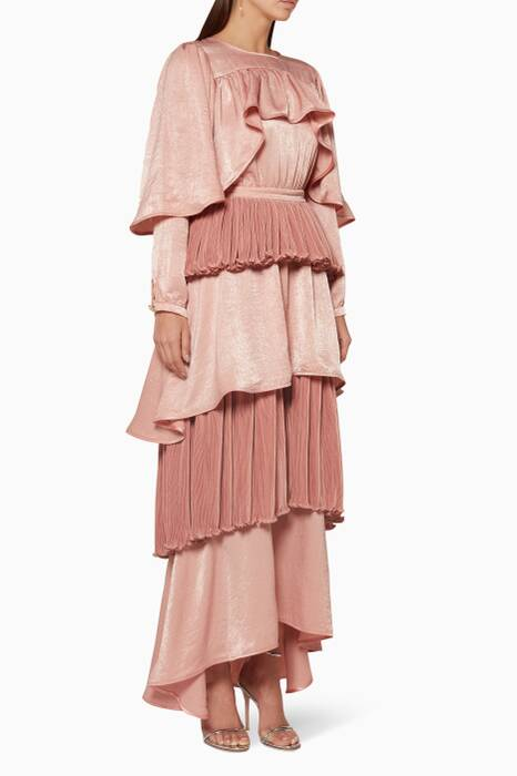 Dusty-Pink Ruffled Shoulder Dress