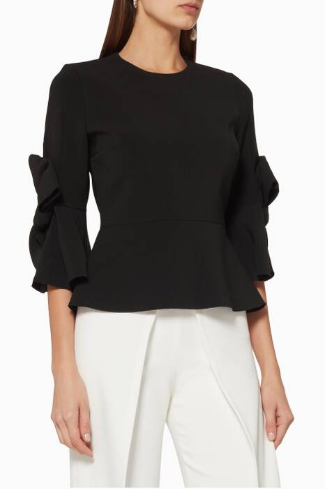 Black Bow-Detail Kemi Peplum Top