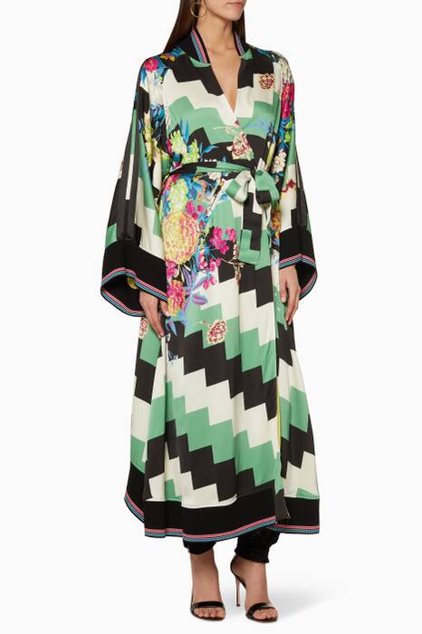 Multi-Coloured Long Kimono Coat