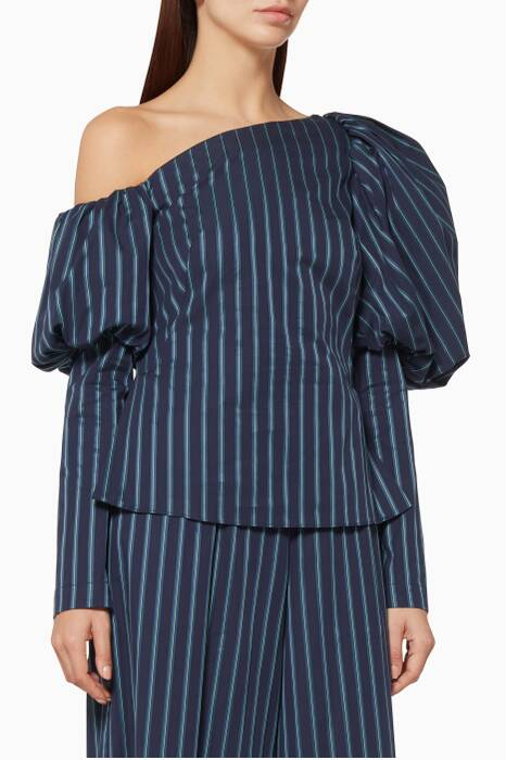 Navy Orla Striped Puff Sleeve Top