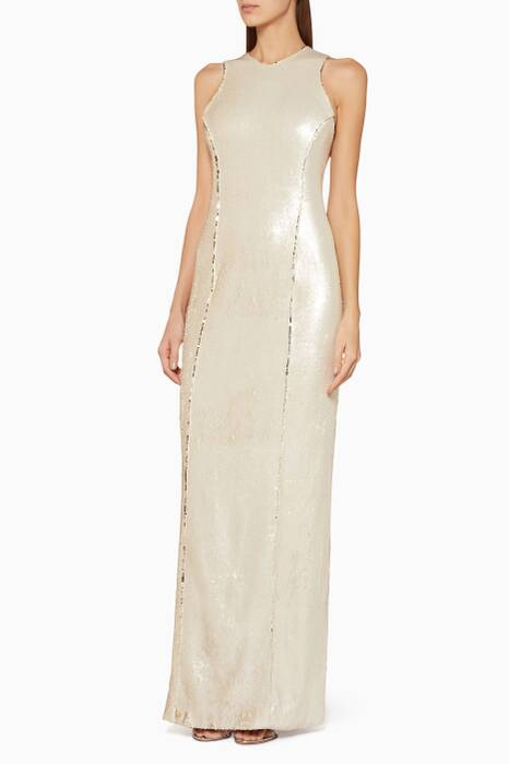 Light-Gold Sequined Salar Gown
