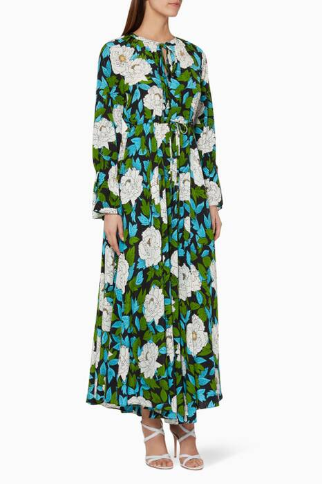 Green Bethany Floral-Print Dress