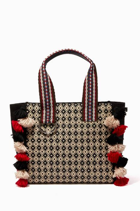 Multi-Colour Tasseled Raffia Shopper Bag