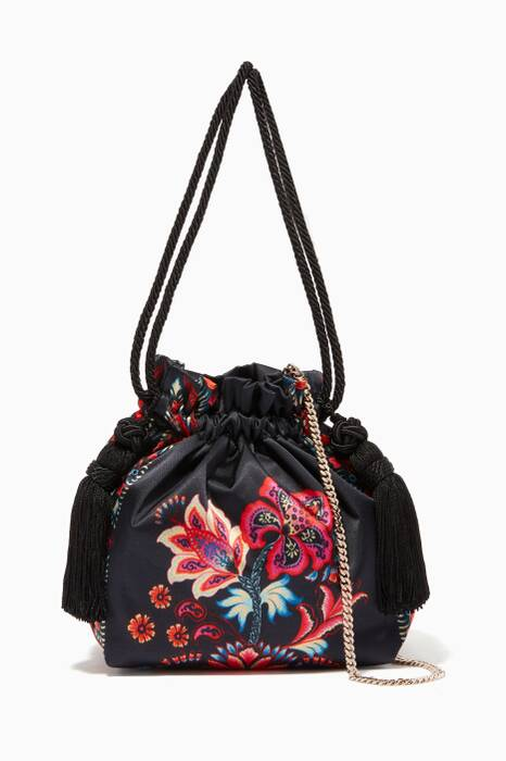 Black Floral Printed Tasseled Bag