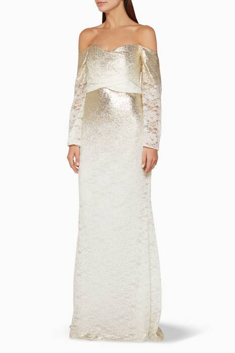 Ivory Off-The-Shoulder Foiled-Lace Gown
