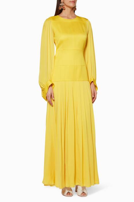 Yellow Long-Sleeve Maxi Dress