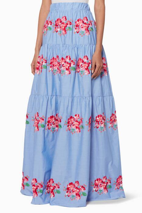 Blue Embroidered Queen Blu Rose Skirt