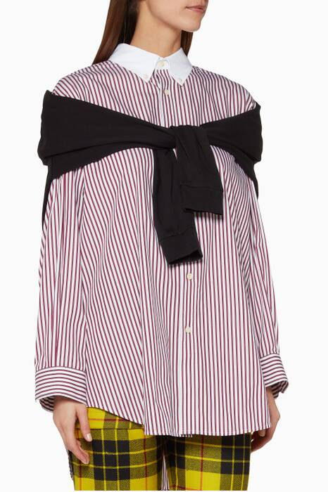 White & Black Striped Tie-front Shirt