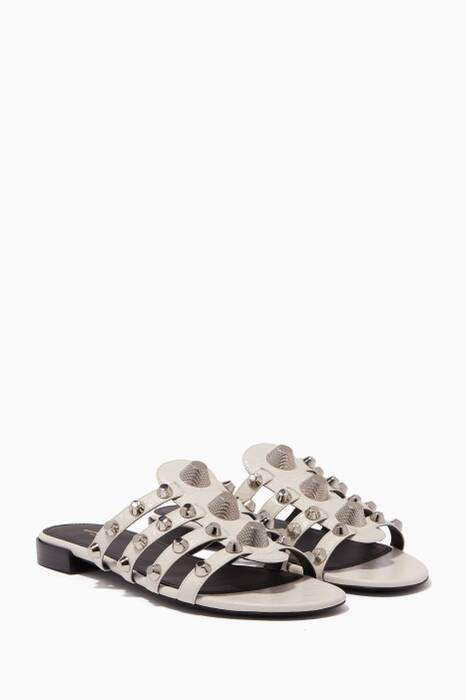 White Arena Giant Studded Flat Sandals