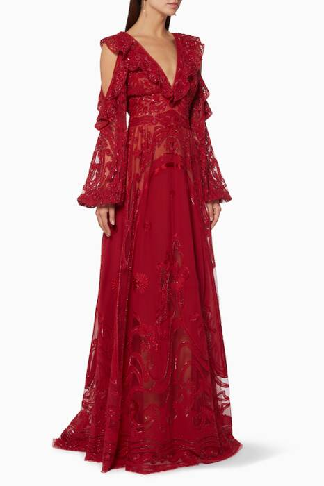Red Embroidered Cut-Out Sleeve Gown