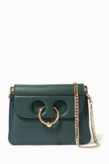 Dark-Green Mini Piece Calf Leather Shoulder Bag