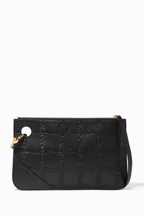 Black Logo-Embossed Pierce Clutch