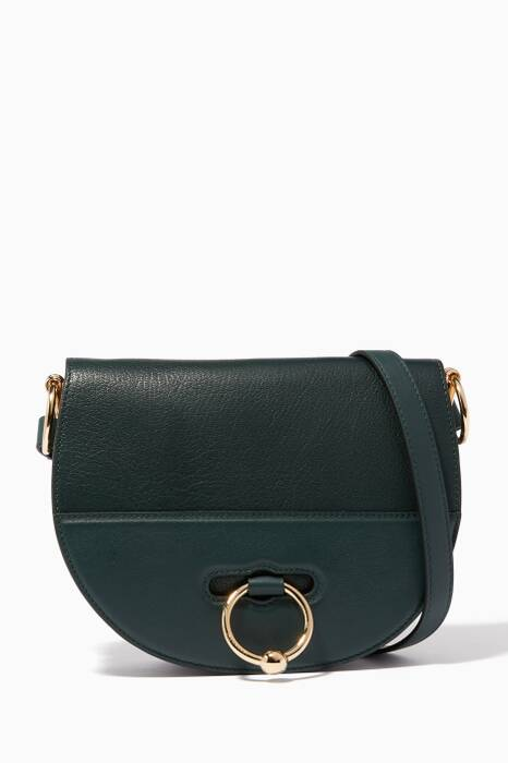 Dark-Green Latch Cross-Body Bag