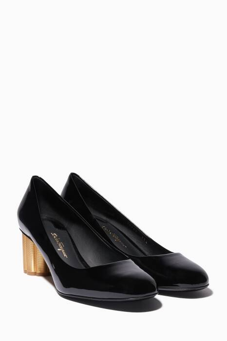 Black Patent Leather Contrast Heel Lucca Pumps