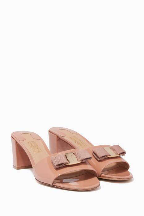 Light-Pink Eolie Patent Leather Bow Mules