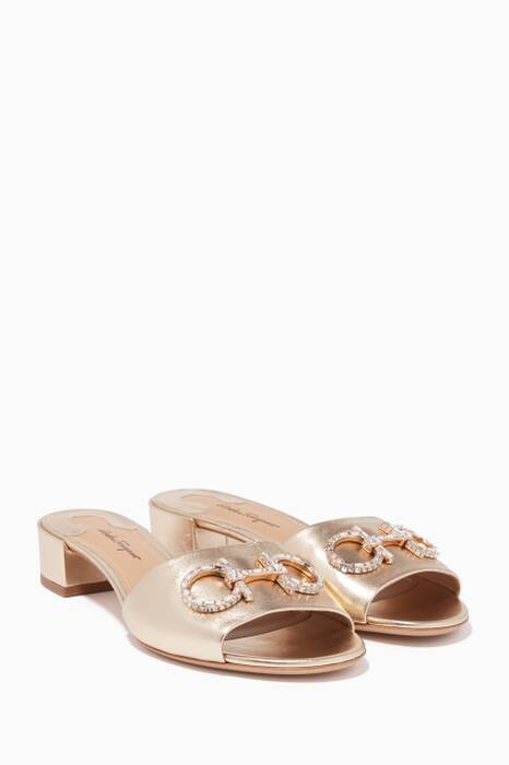 Metallic-Gold Lampio Leather Sandals