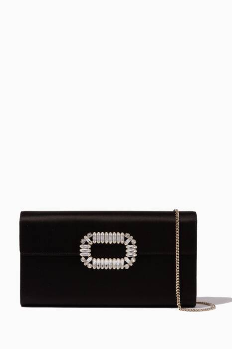Black Crystal-Buckle Envelope-Flap Clutch Bag