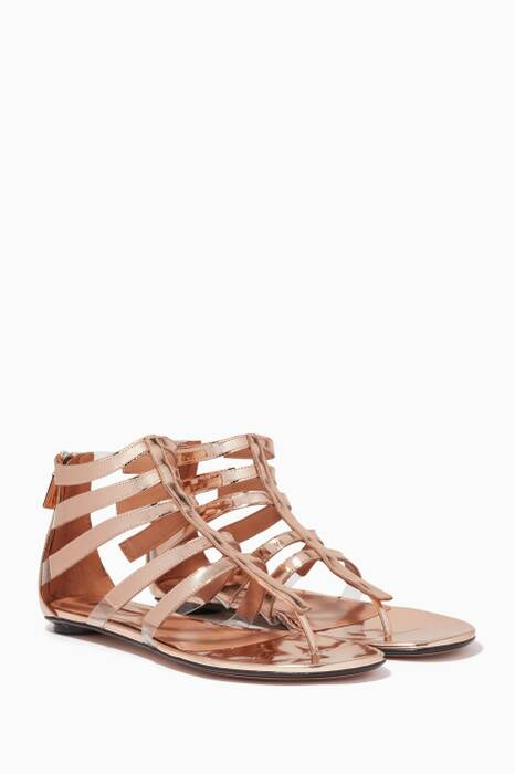 Metallic-Gold Cage Leather Sandals