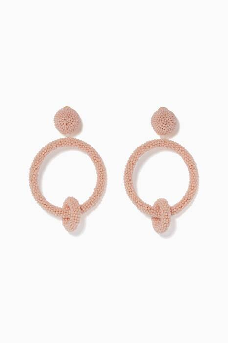 Pink Beaded Double Hoop Earrings