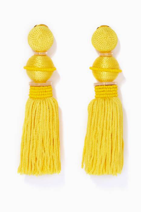 Yellow Ball Tassel Earrings
