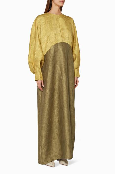 Mustard & Khaki Box Pleated Kaftan