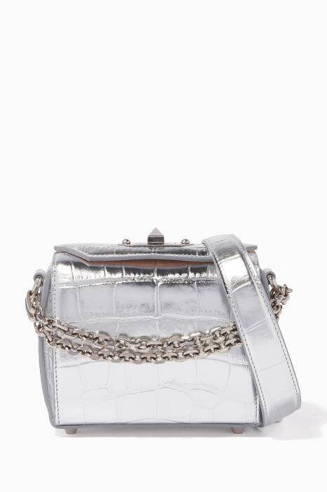 Silver Croc-Embossed Box Bag 16