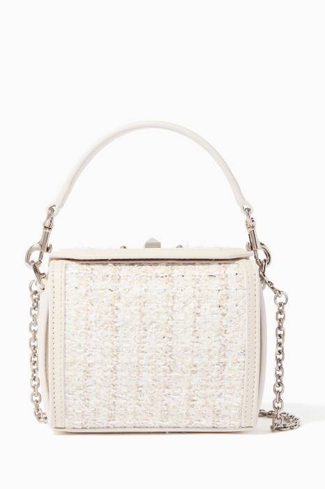 Cream Tweed Nano Box Shoulder Bag