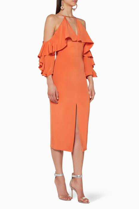 Orange Aura Cold-Shoulder Dress