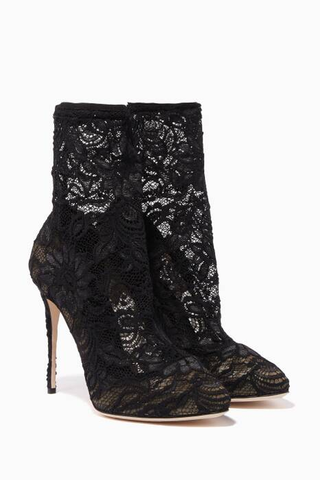 Black Coco Lace Sock Boots