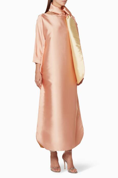 Blush-Pink Long-Sleeve Kaftan With Shawl