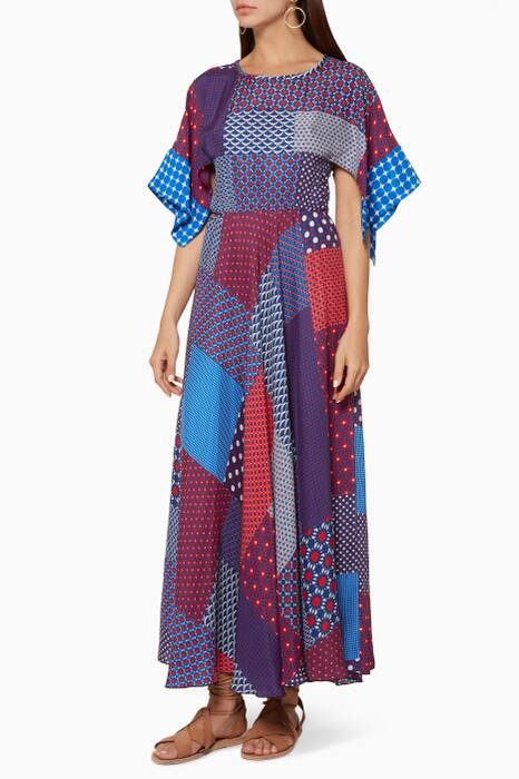 Multi-Coloured Patchwork Midi Dress
