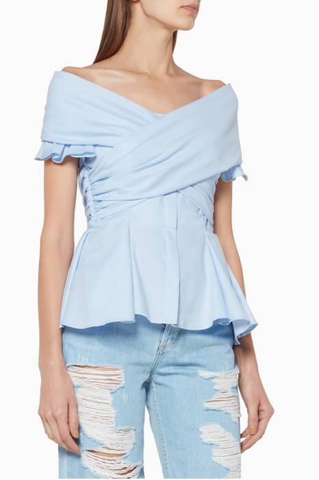 Light-Blue Off-The-Shoulder Peplum Top