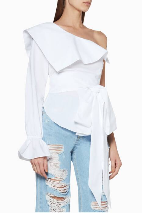 White One-Shoulder Tie-Detail Top