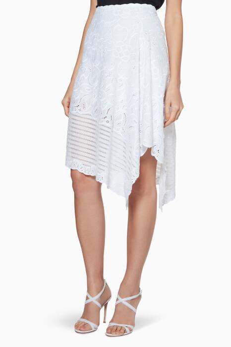 White Embroidered Midi Skirt