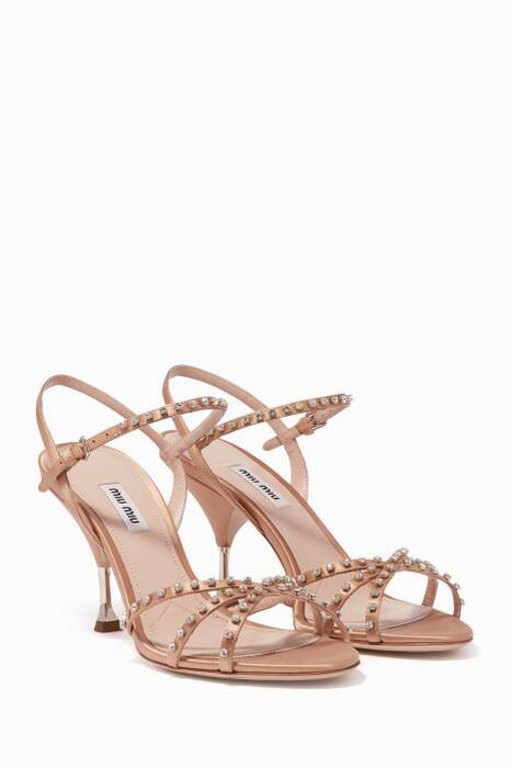 Light-Beige Crystal-Embellished Sandals