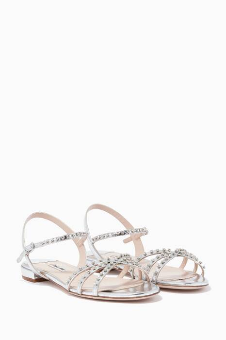 Silver Crystal-Embellished Sandals