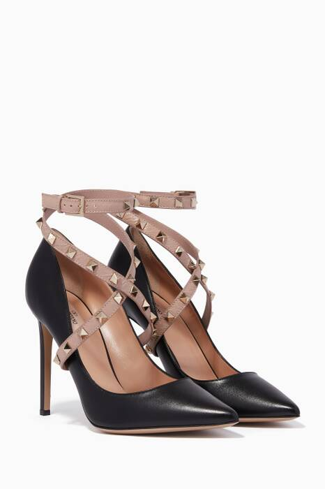 Black Wrap Cross-Over Rockstud Pumps