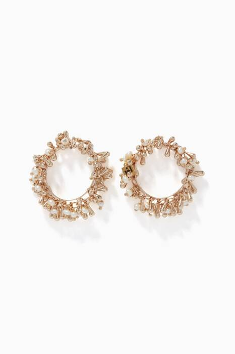 Pearl & Gold-Tone Brass Flapper Drop Earrings