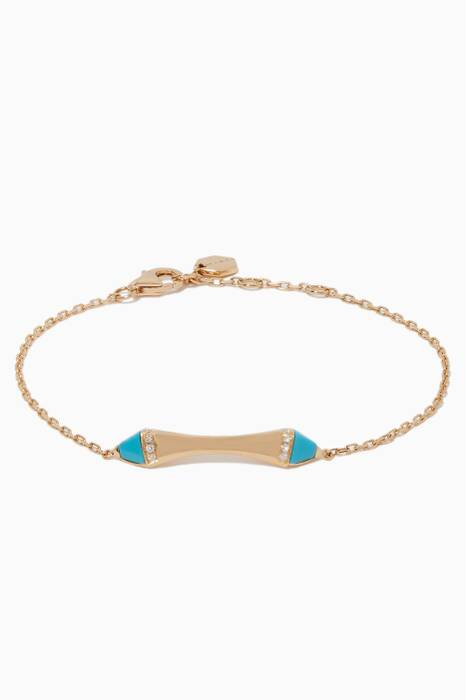 Yellow-Gold & Diamond Cleo Turquoise Bracelet