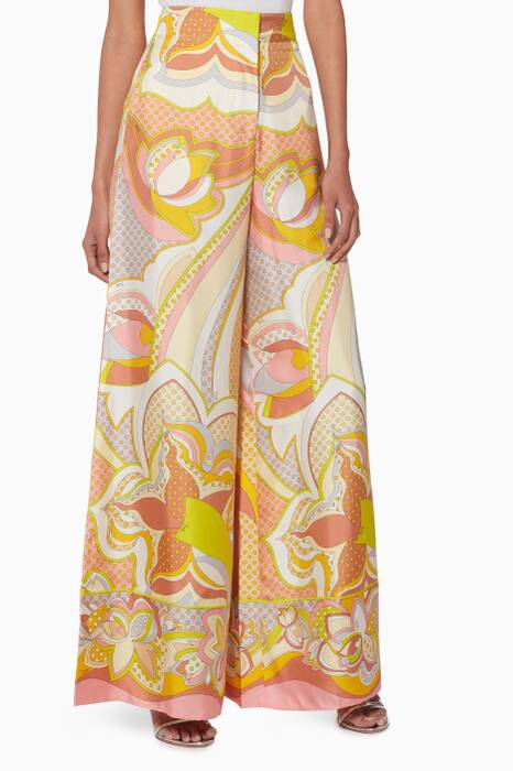 Multi-Coloured Printed Wide-Leg Pants