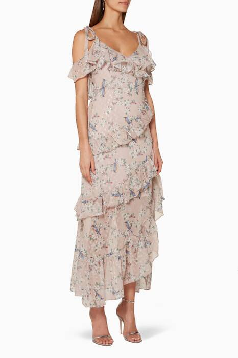 Light-Pink Floral Printed Maxi Dress