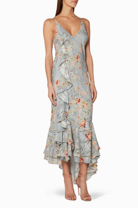 Dove-Blue Floral Printed Esme Dress
